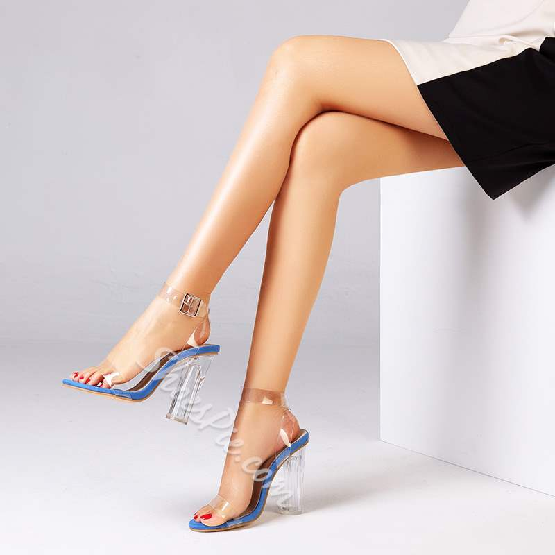 Shoespie Trendy Jelly Open Toe Ankle Strap Chunky Heel Sandals