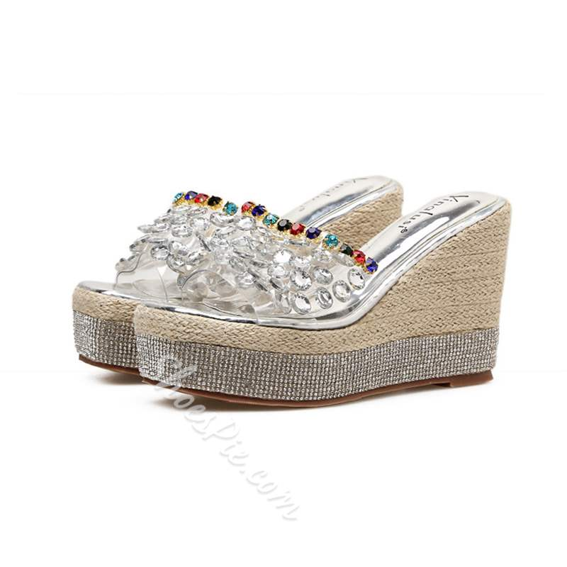 Shoespie Stylish Wedge Heel Platform Slip-On Plain Slippers