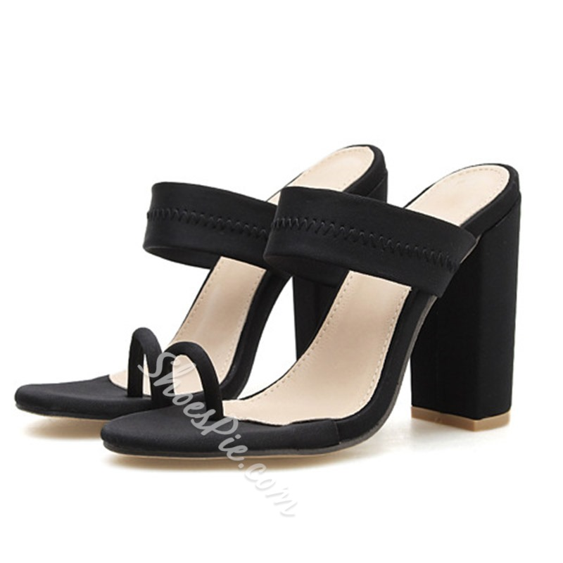 Shoespie Sexy Chunky Heel Slip-On Toe Ring Mule Slippers