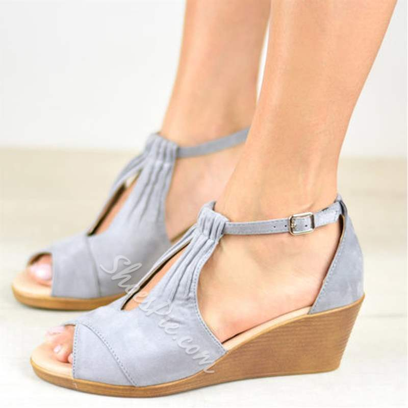 Shoespie Stylish Buckle Wedge Heel Peep Toe Sandals