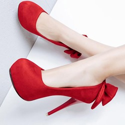 Shoespie Stylish Bow Stiletto Heel Slip-On Platform Heels