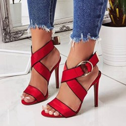 Shoespie Trendy Open Toe Strappy Stiletto Heel Buckle Dress Sandals