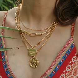 Golden Coin Shape Multi Layer Alloy Necklace
