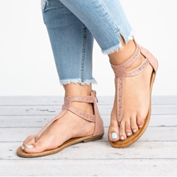 Shoespie Casual Zipper Thong Flat Sandals