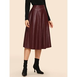 Mid-Calf Plain Pleated High-Waist Women's Skirt