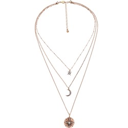 Evil Eye Shape Diamante Layered Pendant Necklace