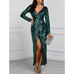 Ankle-Length V-Neck Long Sleeve Sexy Women's Maxi Dress