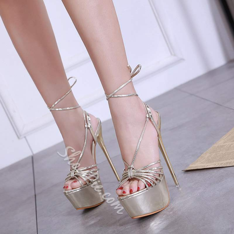 Shoespie Trendy Strappy Lace-Up Open Toe Platform Sandals