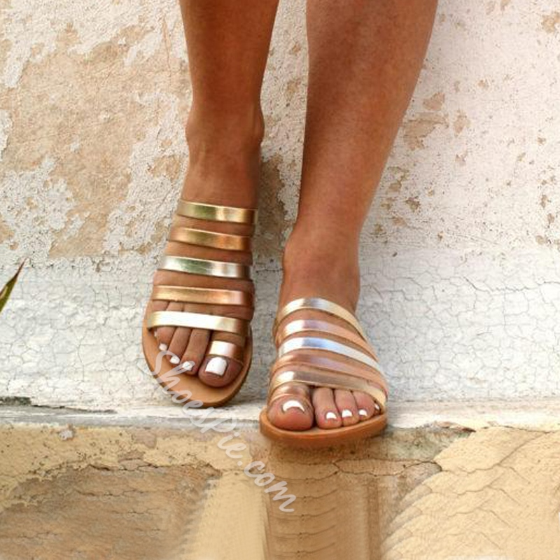 Shoespie Trendy Beach Flat Open Toe Slip-On Sandals