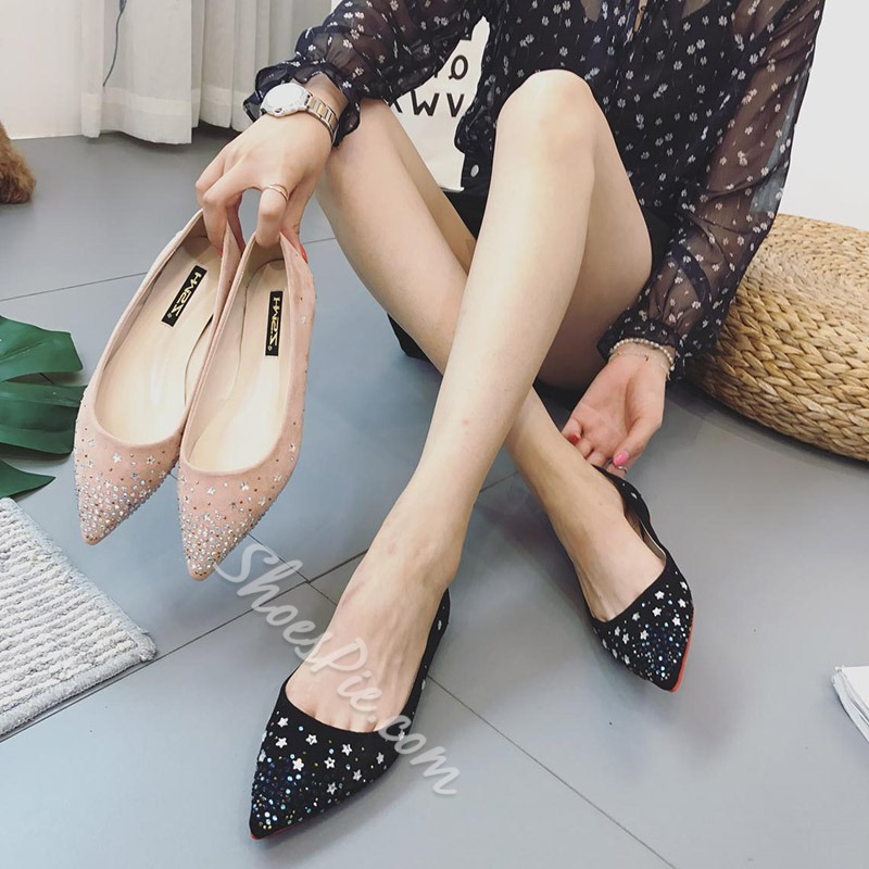 Shoespie Trendy Slip-On Pointed Toe Rhinestone Loafers