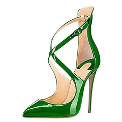Shoespie Sexy Green Buckle Pointed Toe Stiletto Heels
