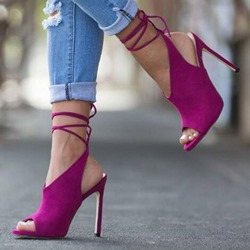 Shoespie Sexy Rose Peep Toe Strappy Lace-Up DressSandals
