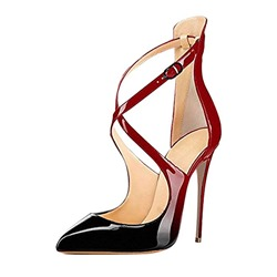 Shoespie Trendy Red Pointed Toe Buckle Stiletto Heels