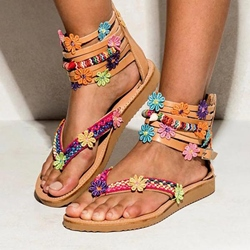 Shoespie Vintage Zipper Flat With Thong Ethnic Sandals