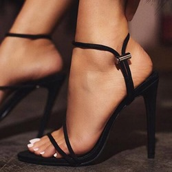Black Stylish Stiletto Heel Elastic Band Ankle Strap Dress Sandals