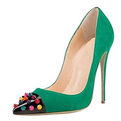 Green Sexy Rivet Slip-On Pointed Toe Color Block Stiletto Heels
