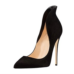 Shoespie Stylish Suede Pointed Toe Slip-On Stiletto Heels