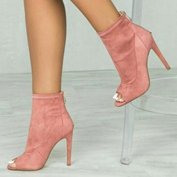 Shoespie Pink Trendy Plain Peep Toe Back Zip Ankle Boots