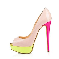 Shoespie Sexy Pink Slip-On Peep Toe Platform Stiletto Heels
