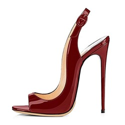 Shoespie Sexy Burgundy Open Toe Buckle Slingback Strap Dress Sandals