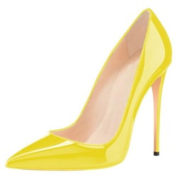 Shoespie Trendy Yellow Slip-On Pointed Toe Stiletto Heels