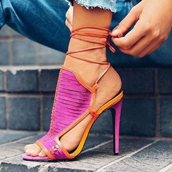 Shoespie Rose Stiletto Heel Lace-Up Open Toe Dress Sandals