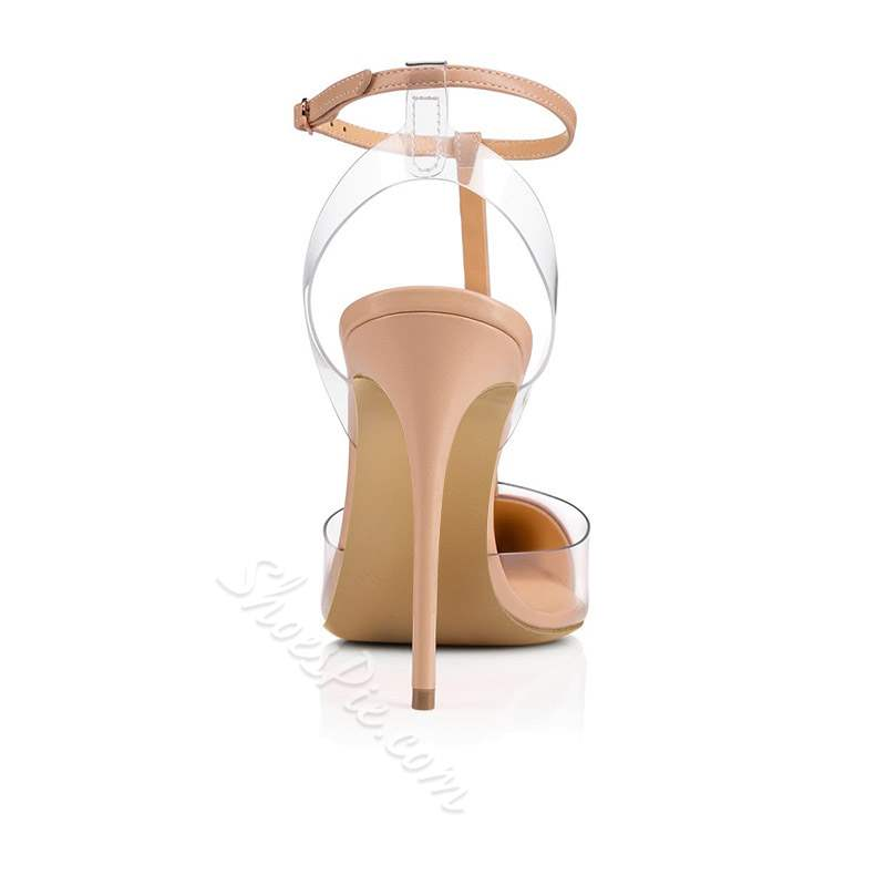 Shoespie Trendy Rivet Stiletto Heel Strappy T-Shaped Buckle Sandals