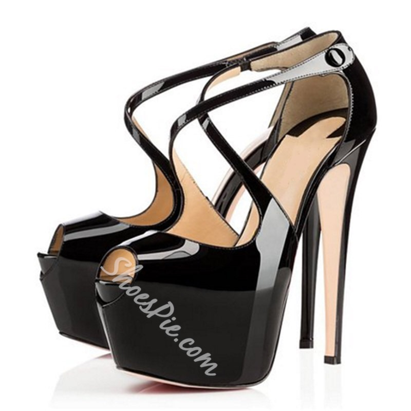 Shoespie Trendy Black Peep Toe Platform Buckle Stiletto Heels