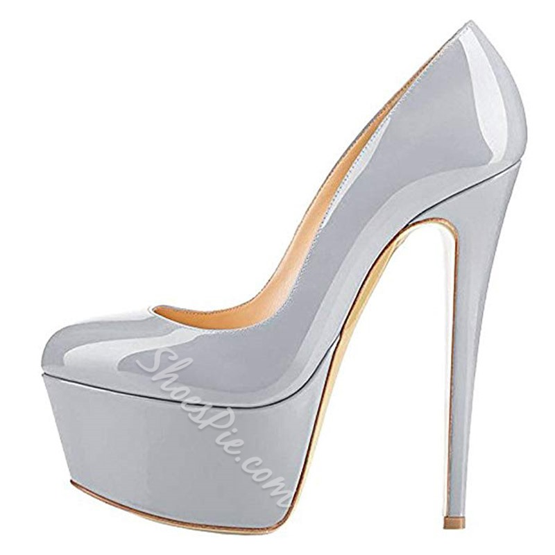 Shoespie Sexy Platform Round Toe Slip On Stiletto Heels