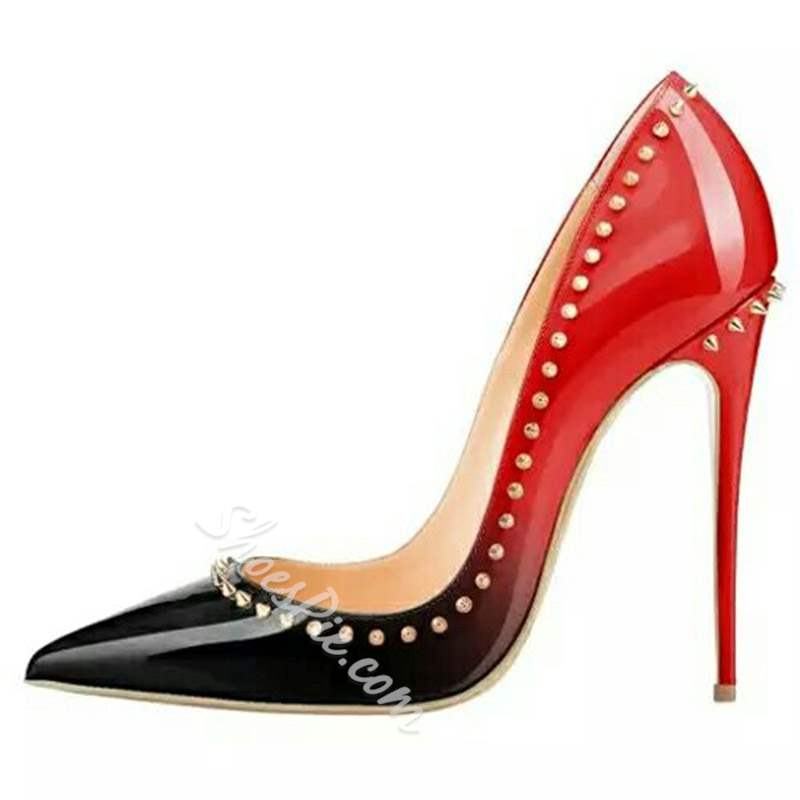 Shoespie Rivet Stylish Pointed Toe Slip-On Stiletto Heels