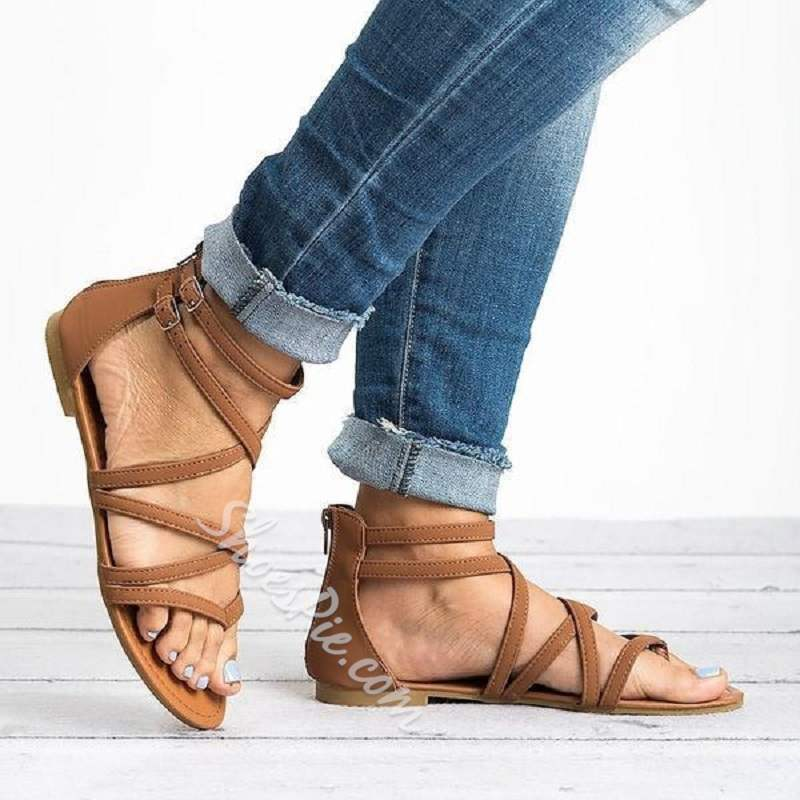 Shoespie Stylish Zipper Flat With Thong Western Sandals