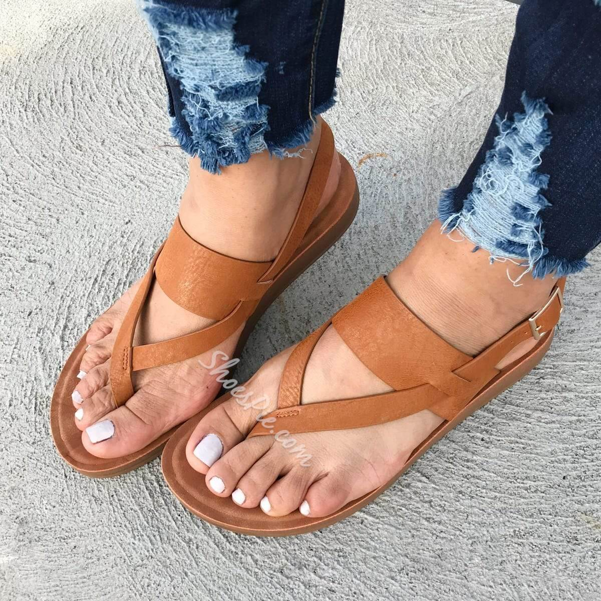 Shoespie Casual Buckle Flat With Thong Western Sandals