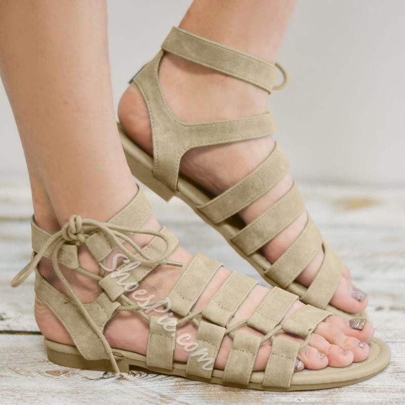 Shoespie Vintage Flat With Lace-Up Open Toe Western Sandals