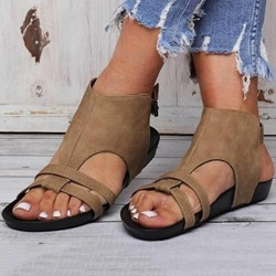Shoespie Trendy Open Toe Strappy Buckle Flat Sandals