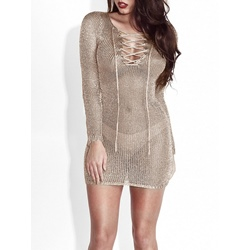 Above Knee V-Neck Sexy Lace-Up Women's Bodycon Dress