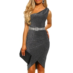 Asymmetric Sleeveless Sexy Belt Women's Bodycon Dress