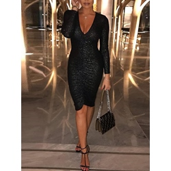 Sequins Long Sleeve V Neck Women's Bodycon Dress