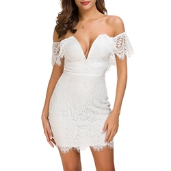 Lace Above Knee Hollow Lace Women's Bodycon Dress