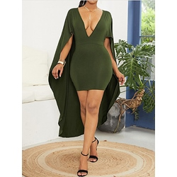 Above Knee Patchwork Sleeveless V Neck Women's Bodycon Dress