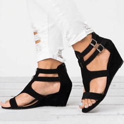 Shoespie Wedge Heel Zipper Open Toe Buckle Sandals