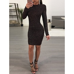 Round Neck Long Sleeve Backless Plain Women's Bodycon Dress
