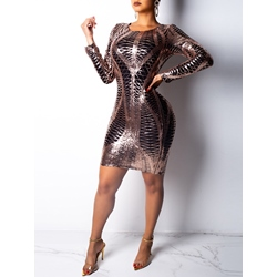 Round Neck Long Sleeve Sequins Women's Bodycon Dress