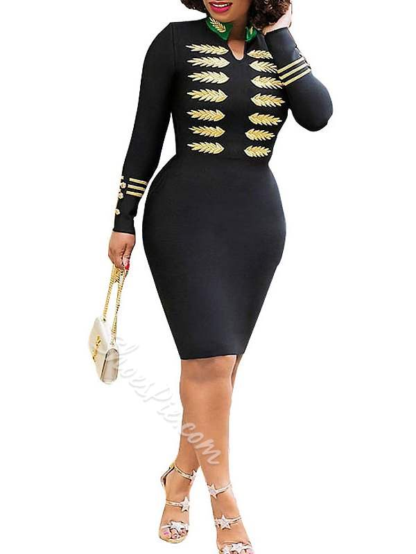 Knee-Length Stand Collar Long Sleeve Women's Bodycon Dress