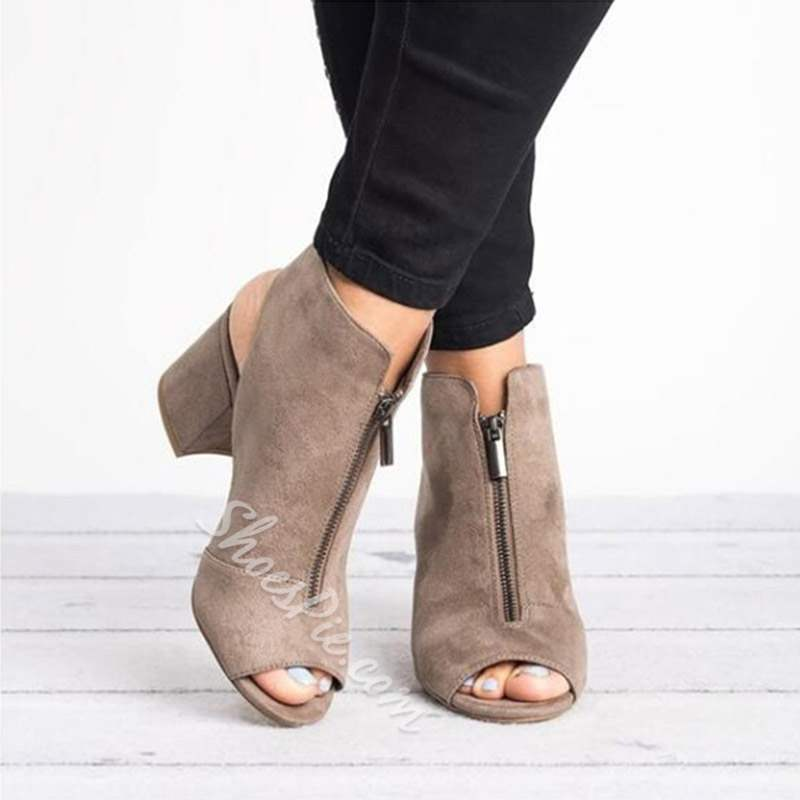 Shoespie Trendy Chunky Heel Zipper Strappy Low Heels
