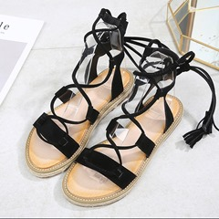 Shoespie Stylish Lace-Up Open Toe Ankle Strap Flat Sandals