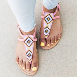 Shoespie Sexy Buckle Thong Low-Cut Upper Flat Sandals