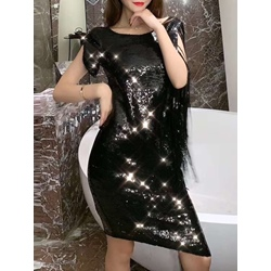 Tassel Knee-Length Short Sleeve Women's Bodycon Dress