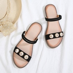 Shoespie Trendy Ankle Strap Open Toe Flat Beads Sandals