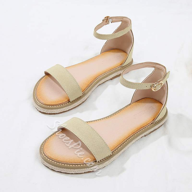 Shoespie Stylish Line-Style Buckle Open Toe Heel Covering Flat Sandals