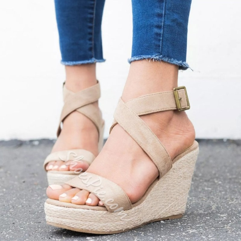 Shoespie Sexy Strappy Wedge Heel Buckle Platform Sandals